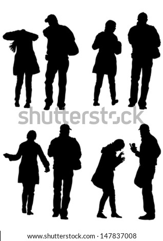 Vector drawing of a couple of young guys and girls. Property release is attached to the file - stock vector