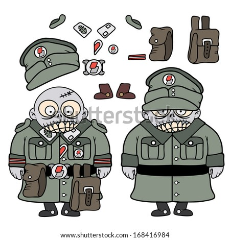 Vector drawing of a funny zombie soldier character with customizable outfit - stock vector