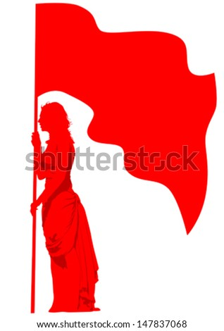 Vector drawing of a girl with red flags. Property release is attached to the file - stock vector