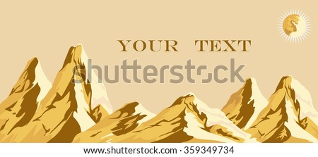 Vector drawing of a golden mountain at sunset - stock vector