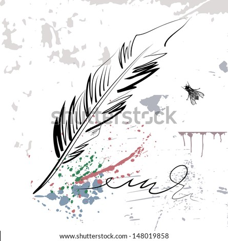 Vector drawing of a goose quill, signature, blots and fly. Hand sketch. - stock vector
