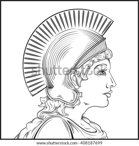 Vector Drawing Of A Greek Warrior Woman Easy To Edit Groups And Layers