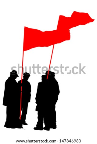 Vector drawing of a group of people with flags. Property release is attached to the file - stock vector