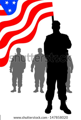 Vector drawing of a group of soldiers under American flag. Property release is attached to the file - stock vector