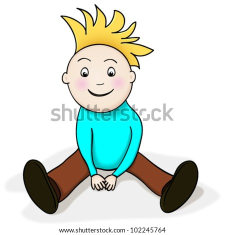 Vector drawing of a happy boy cartoon character sitting on the floor, watching something with amazement and excitement