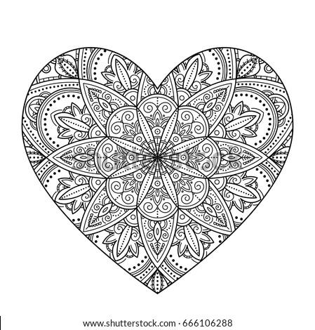 Handdrawn Heart Henna Mehndi Paisley Doodle Stock Vector ...