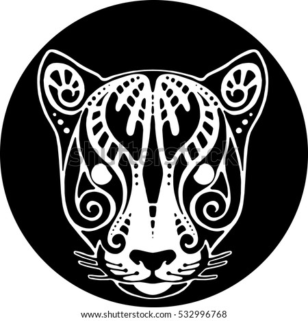 Vector drawing of a jaguar's head polynesian tattoo sketch.