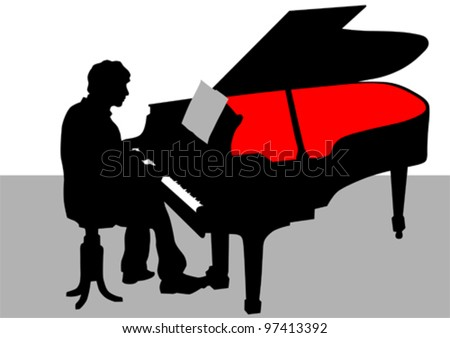 Vector drawing of a man playing piano on stage - stock vector