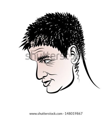 Vector drawing of a man's head in a profile.