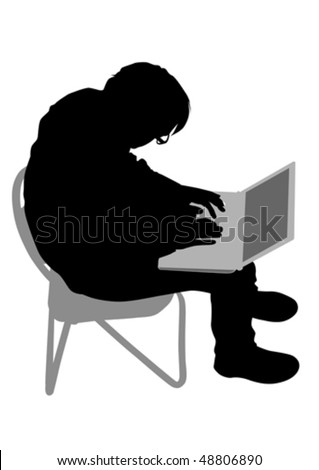 Vector drawing of a man with a personal computer. Silhouette on white background - stock vector