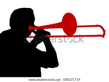 Vector drawing of a man with trombone on stage - stock vector