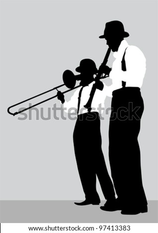 Vector drawing of a mans with trombone and clarinet on stage - stock vector