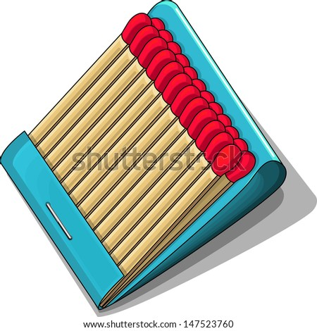 Vector drawing of a matchbook with matches/Matchbook/ Easy to edit vector file, Simple and isolated vector object of a matchbook open with matches. No meshes or gradients used - stock vector