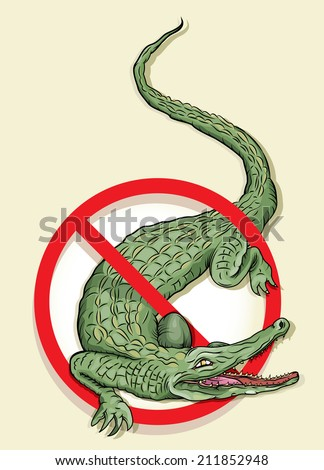 Vector drawing of a /NO ALLIGATORS SIGN/ Easy to edit grouped objects and layers, gradient and transparency used on background layer. easy to obtain just the Alligator from file.  - stock vector