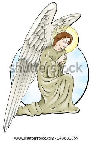 Vector drawing praying angel angel easy edit vector stock for Online drawing editor