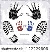 Vector drawing of a prints of human hands and traces of footwear on a white background. - stock vector