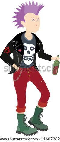 Vector drawing of a punk boy holding a bottle - stock vector