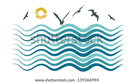 Vector drawing of a sea waves, sun and gulls. - stock vector