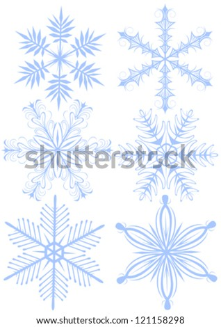 Vector drawing of a set of snowflakes for christmas - stock vector