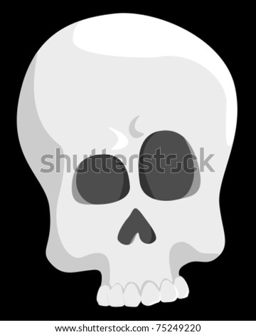 Vector drawing of a skull on black background.