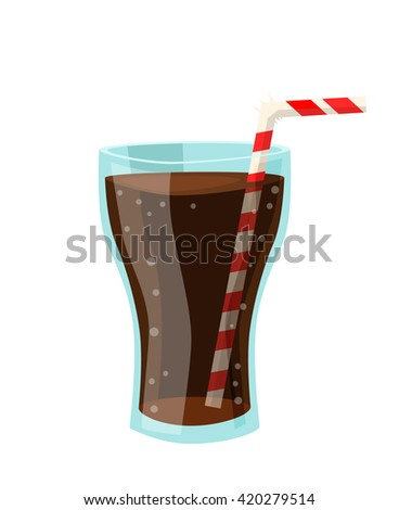 Vector drawing of a soda cups in flat cartoon style. Illustration for design fast food menu. Lemonade soda isolated icons. Soda illustration. Art of soda in glass - stock vector