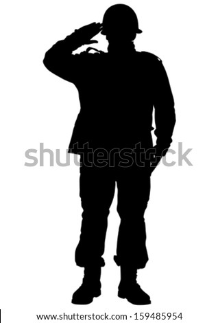 Vector drawing of a soldier in uniform with weapon - stock vector
