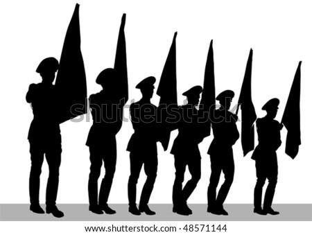Vector drawing of a soldier on parade. Silhouettes on white background - stock vector