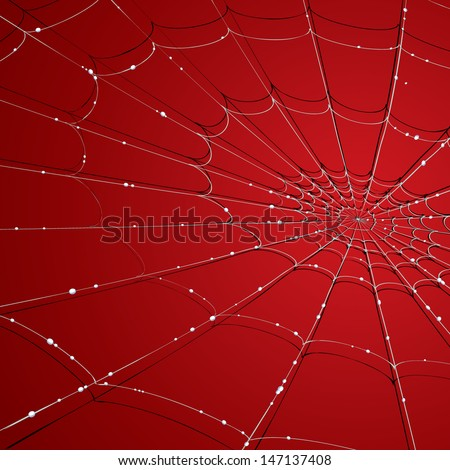 Vector drawing of a spider web/Spider web/ Easy to edit layer of a spider web background, gradients and meshes used, easy to edit red color in background. - stock vector