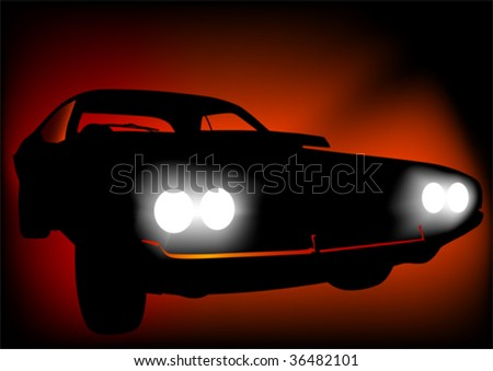 Vector drawing of a sports car at night. Discounted lamps - stock vector