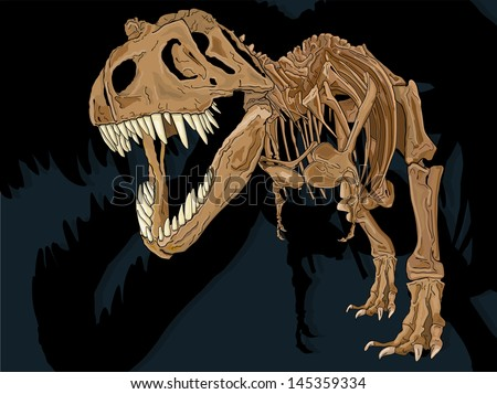Vector drawing of a T-Rex Skeleton/ T-Rex Skeleton/ Easy to edit layers, drawn anatomically correct based on a Tyrannosaur skeleton, Easy to edit groups no gradients or meshes or blends used.   - stock vector