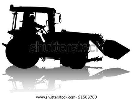 Vector drawing of a tractor for construction work. Silhouette on white background - stock vector