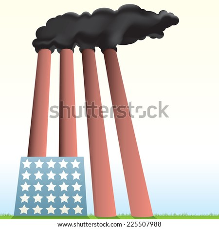 Vector drawing of a USA Styled Factory / Largest Polluter / Easy to edit layers and groups gradients and meshes used, no effects or transparencies used - stock vector