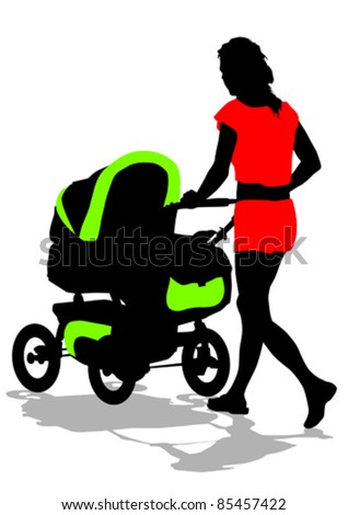 Vector drawing of a woman with a pram - stock vector