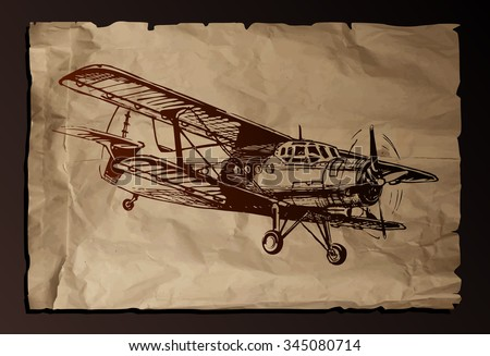 Vector drawing of airplane stylized as engraving on old paper background,vector. - stock vector