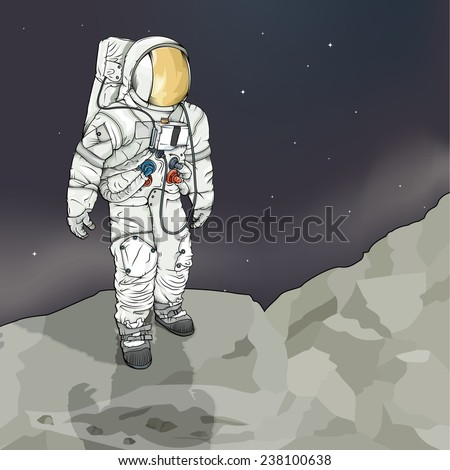Vector drawing of an / Astronaut / Easy to edit groups and layers, no effects used gradient mesh used on background layer. Easy to isolate astronaut. Space suit modeled after the NASA Apollo missions - stock vector