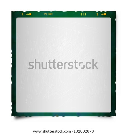 Vector drawing of an old, black/green, instant photo frame. - stock vector