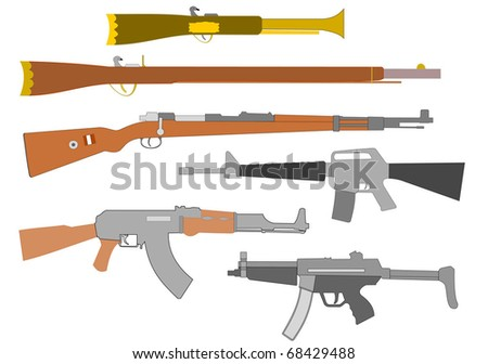 Vector drawing of ancient to modern sidearms, rifles and assault weapons.