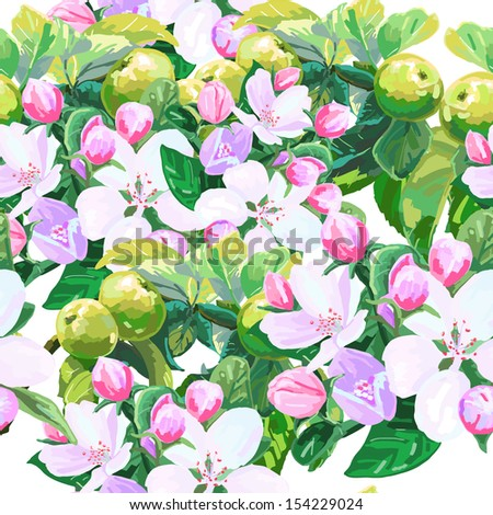 vector drawing of apple blossoms - stock vector