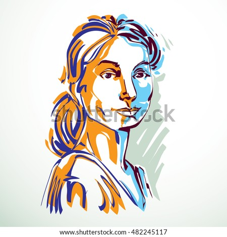 Vector drawing of beautiful confident woman, portrait in minimal style. Colorful illustration, emotional expressions of nice lady.