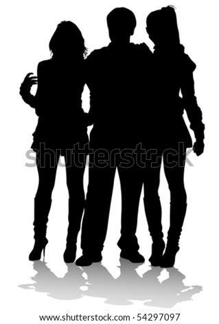 Vector drawing of beautiful young boy and women. Silhouettes on white background - stock vector