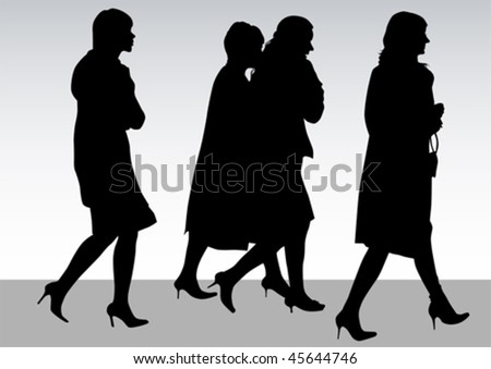 Vector drawing of beautiful young women. Silhouettes on white background