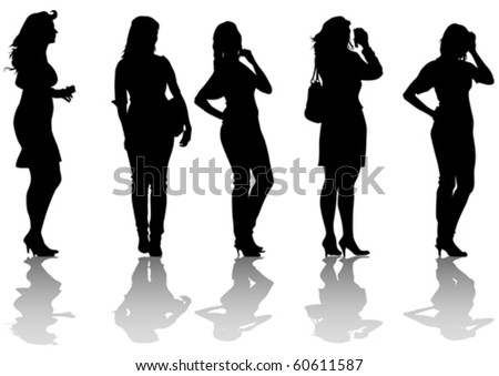 Vector drawing of beautiful young women. Silhouettes on white background - stock vector