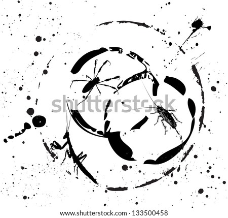 Vector drawing of  black spider, mantis and cockroach against the background of blots and stains. - stock vector