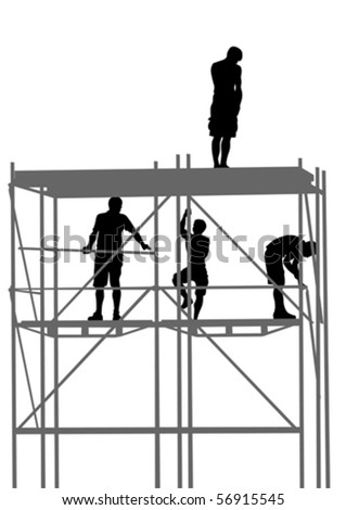 Vector drawing of building structures and worker on construction