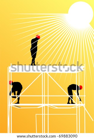 Vector drawing of building structures and worker on construction - stock vector