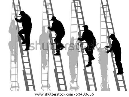 Vector drawing of building structures and worker on stairs - stock vector