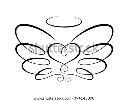Vector drawing of calligraphic stylized heart and two wings. Linear design elements. Vintage style. - stock vector