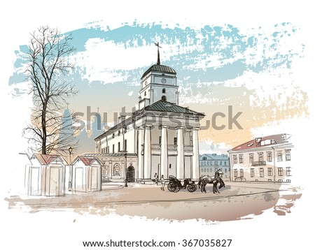Vector drawing of central street of old european town, Minsk, Belarus