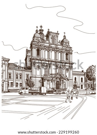 Vector drawing of central street of old european town, Vilnius, Lithuania - stock vector