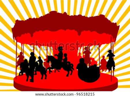 Vector drawing of children on carousel - stock vector